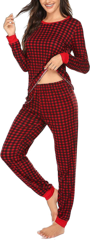 MAXMODA Conjunto de pijama para mujer a cuadros suave de manga larga