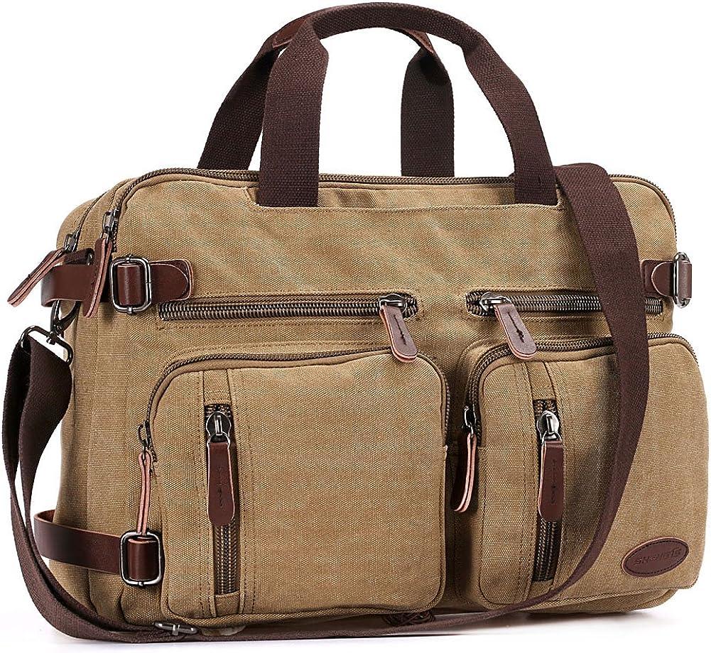 Messenger Bag for Men Convertible 17.3 inch Canvas Laptop Backpack Bookbag for College Working Bag Business Travel