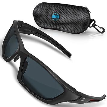 89edcda6702 BLUPOND Baseball Sunglasses for Men Women Sport TR90 Light Weight Frames  and Polarized Lens (Black Red