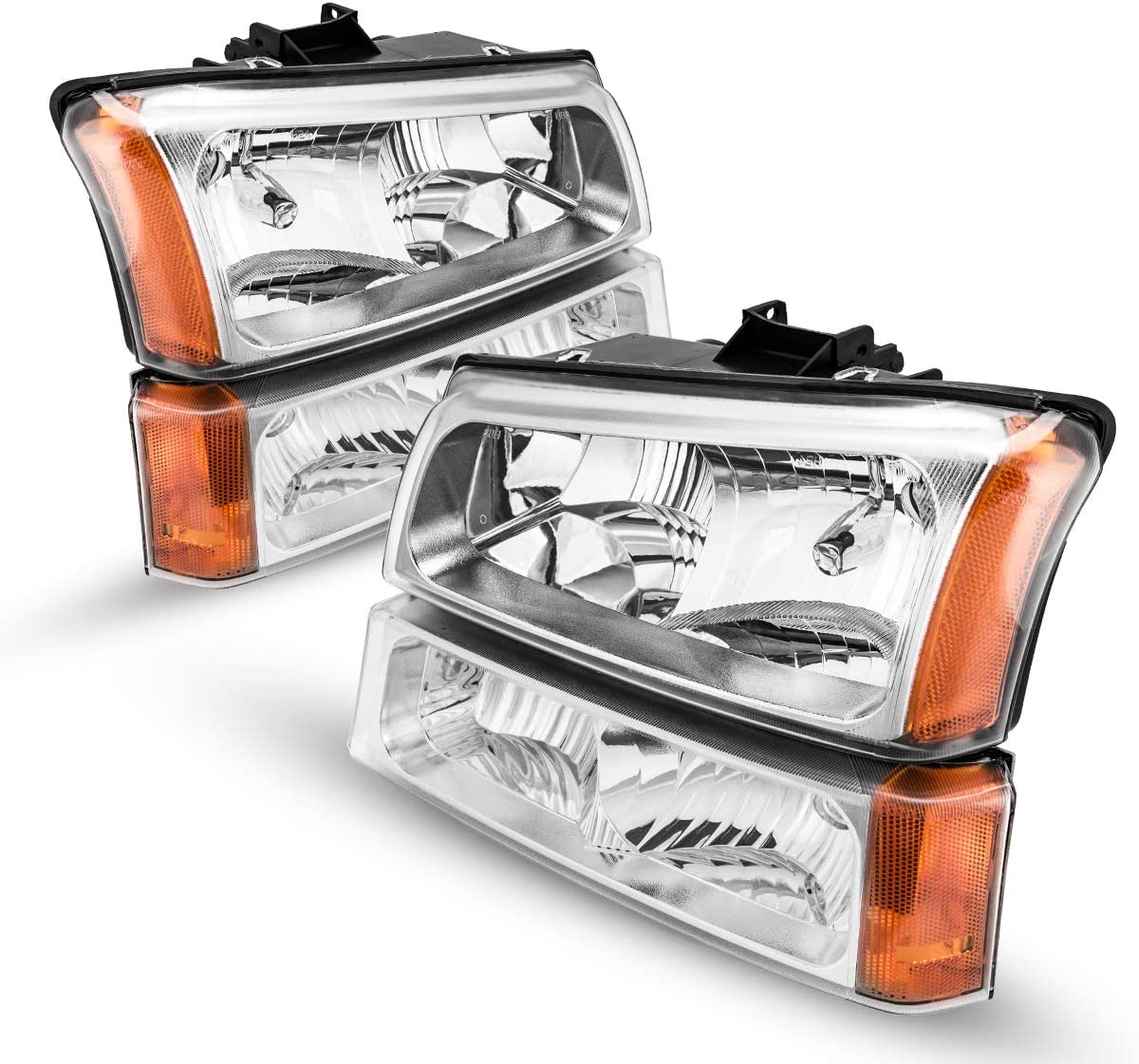 KAC Headlight Assembly Kit for 2006 Silverado Headlights Driver and Passenger Side Replacement Headlight Compatible with 2003-2006 Avalanche &Silverado 1500 2500 3500 Chrome Housing Amber