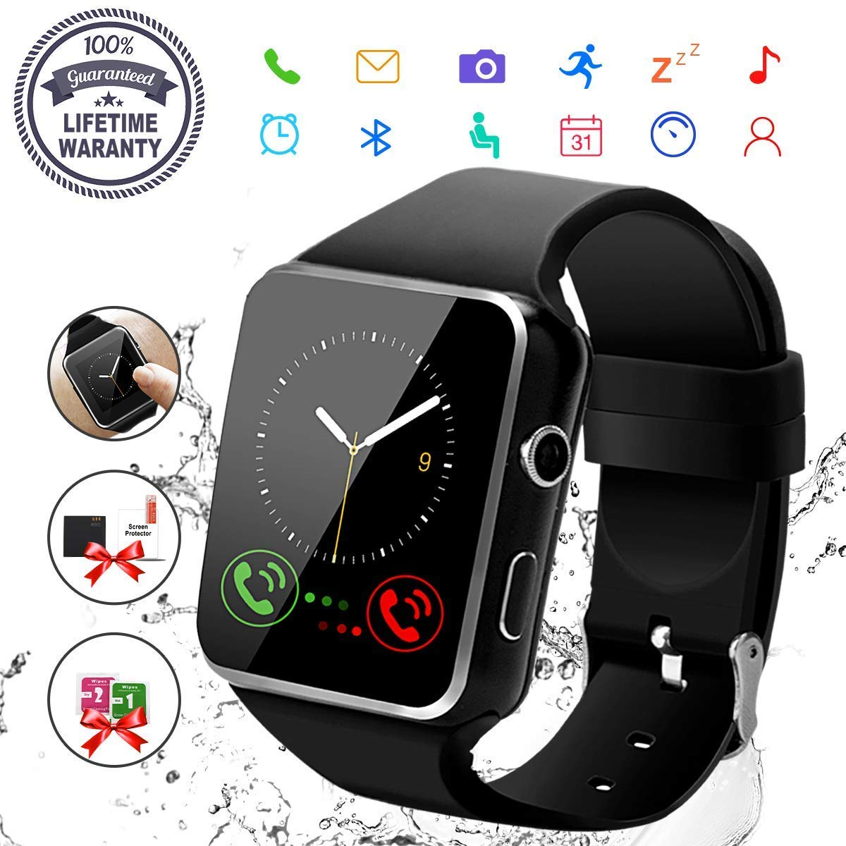 Smart Watch,Bluetooth Smartwatch Touch Screen Wrist Watch with Camera/SIM Card Slot,Waterproof Phone Smart Watch for Men Women Sports Fitness Tracker Compatible Android Phones Samsung Huawei Black