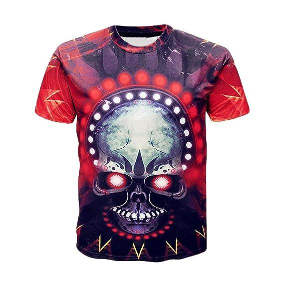Camisetas Calaveras Hombre Casuales LHWY, Camisetas con Estampado De 3D Cuello Redondo Blusa Ajustadas Manga
