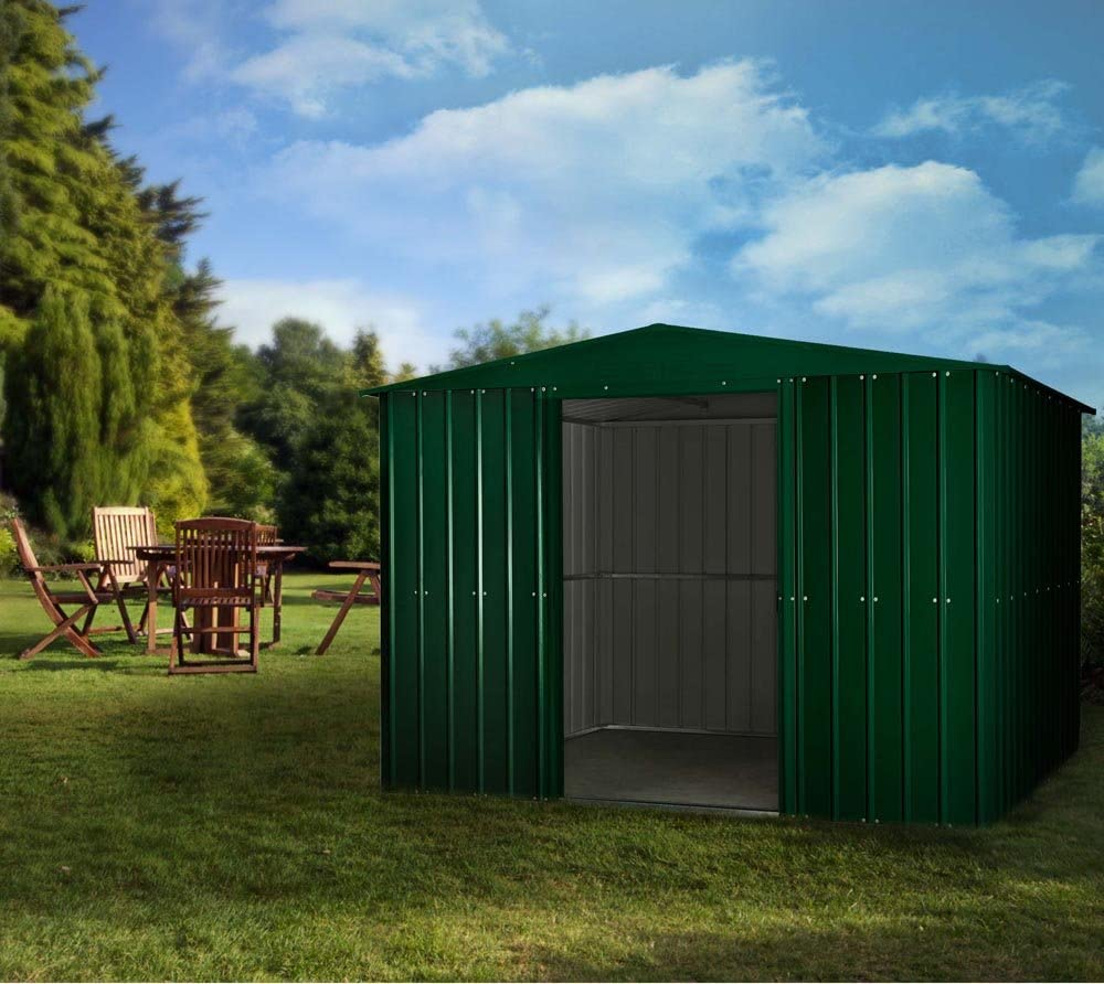 GLOBEL Industries metal jardín cobertizo Jardín Casa 10 x 10 Green//295 x 299 x 202 cm (Alto)//9, 5 M²//cobertizo metal tejado: Amazon.es: Jardín