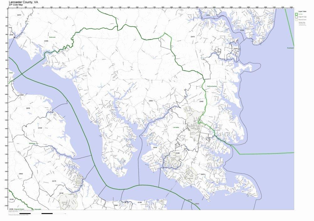Amazon Com Lancaster County Virginia Va Zip Code Map Not Laminated