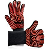 Oven Mitts Kitchen BBQ Gloves - Extreme Heat Resistant with Silicone and Flexibility Super Soft Cotton - 1 Pairs One Size Fits All - Black