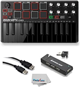 Akai Professional MPK MINI MK2 MKII | 25-Key Ultra-Portable USB MIDI Drum Pad & Keyboard Controller (Black) + 4-Port USB 2.0 Hub + High Speed USB Extension Cable + Clean Cloth
