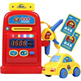 TeganPlay Gas Station Playset Pretend Play Toy Gas Pump for Boys Girls Kids with Lights and Sounds