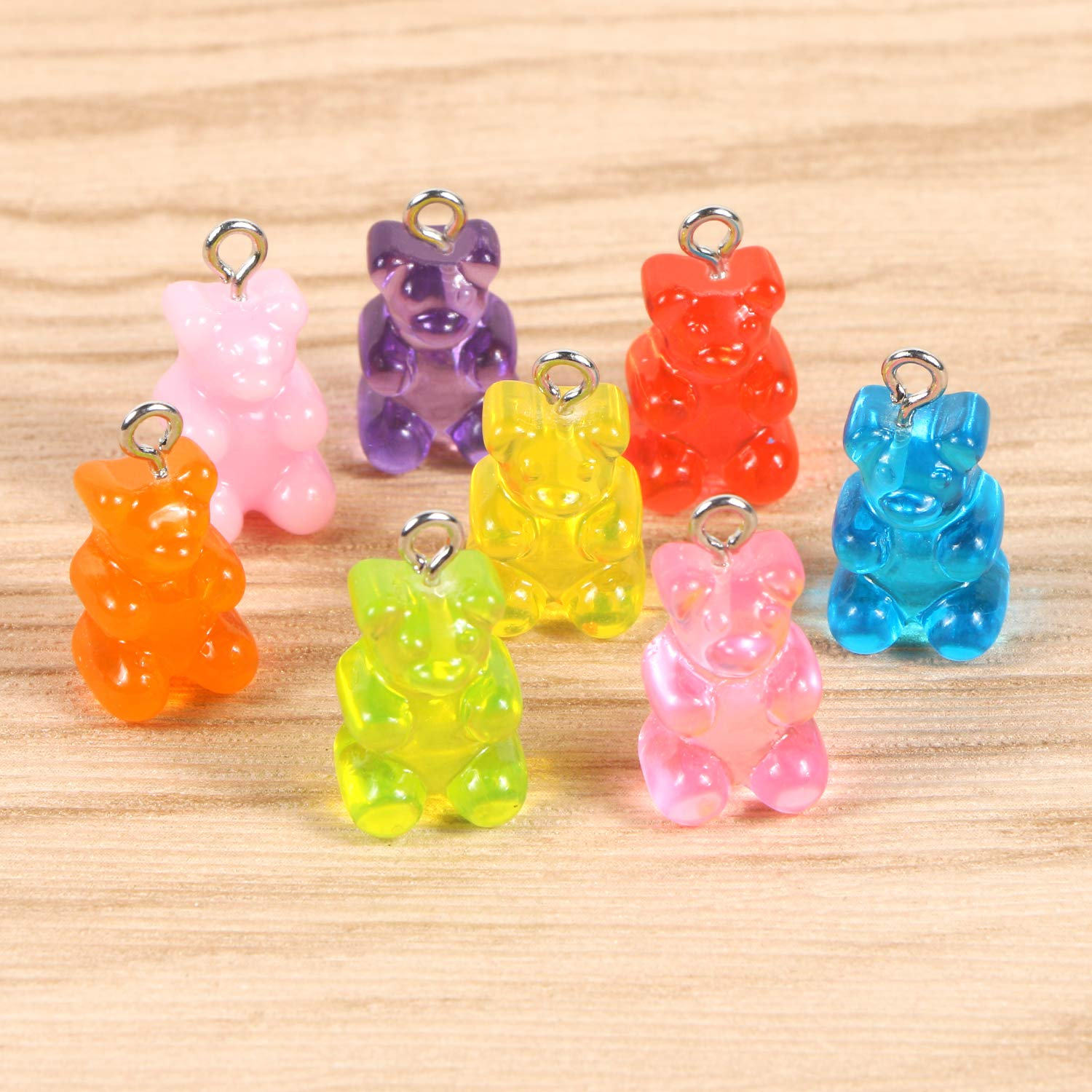 BENBO 40Pcs 8 Colors Cartoon Bear Keychain Pendants Necklace Bear Candy Charm for DIY Jewelry Making Crafting Resin Gummy Bear Pendant