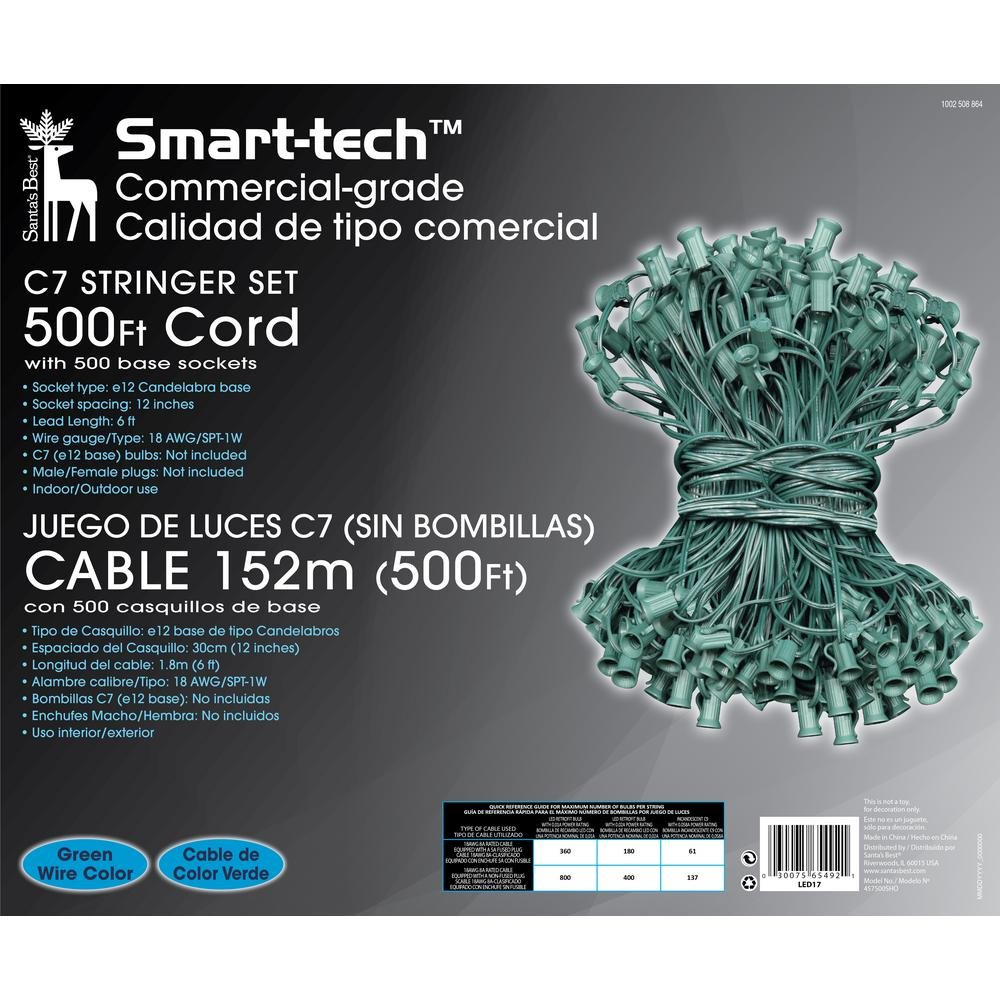 Smart-Tech Commercial-Grade C7 Stringer Set 500 ft Cord with 500 Base Sockets