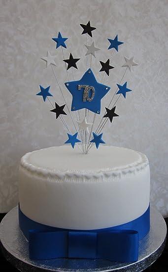 Amazonde 70 Geburtstag Kuchen Topper Blau Schwarz Und Weiß Stars