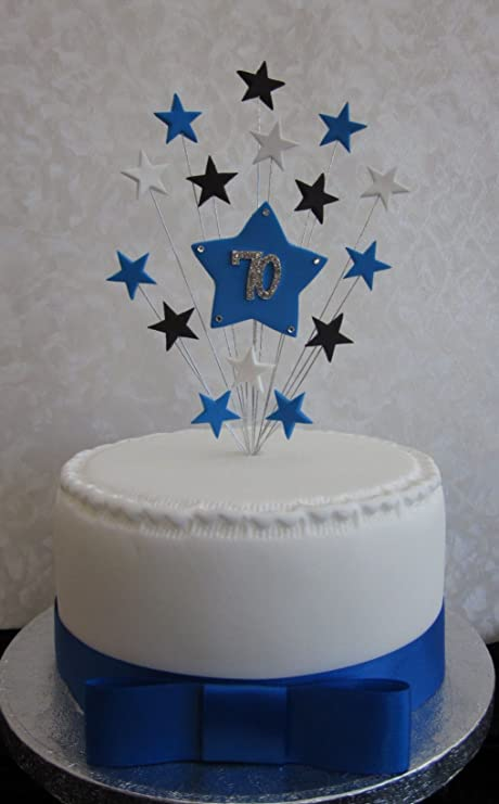 70th Birthday Cake Topper Blue Black And White Stars Suitable For A