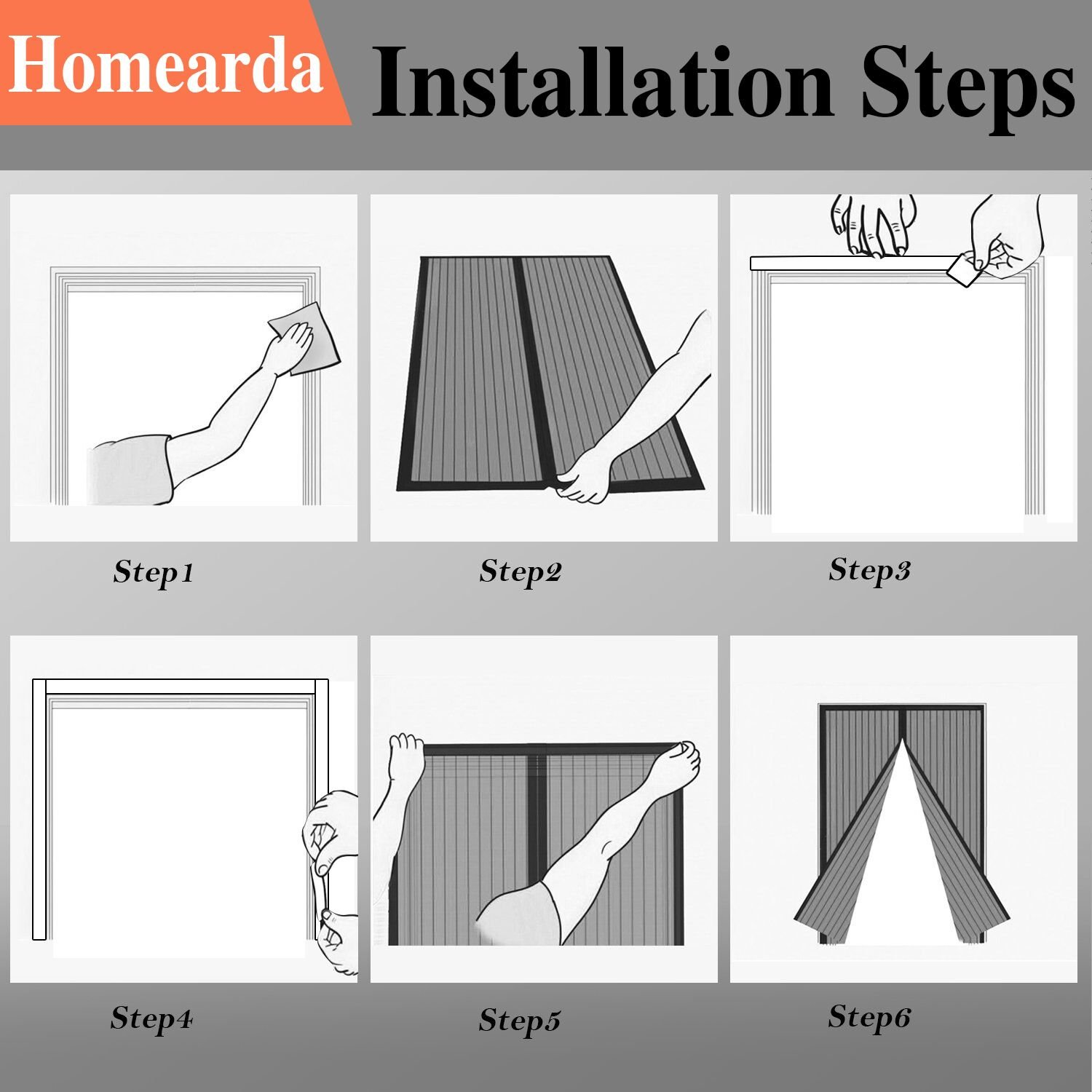 Homearda Fiberglass Magnetic Screen Door-New 2018 Design Upgrade Magnets-Durable Fiberglass Mesh Curtain with Weights in Bottom-Full Frame Magic Adhesive Tape. Fits Door up to 34x82