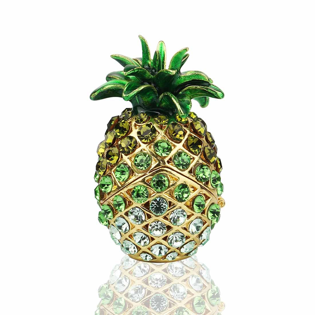 YUFENG Pineapple Hinged Trinket Box For Gifts Hand-painted Patterns Trinket Bejeweled Box Collectible
