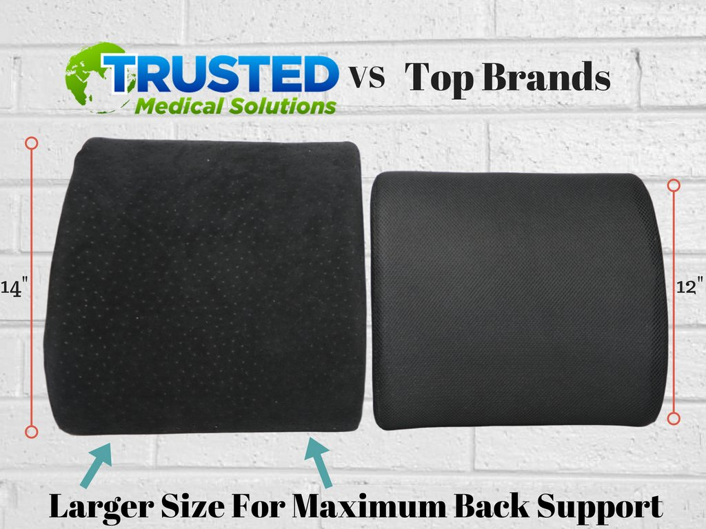 Trusted XL Back Lumbar Support Pillow - ★ Won't Flatten 100% Pure Memory Foam ★ - Posture Cushion Pain Relief for Office, Car, Home, Travel - Removable Attach Anywhere Extendable Straps (Black) by Trusted Medical Solutions (Image #3)