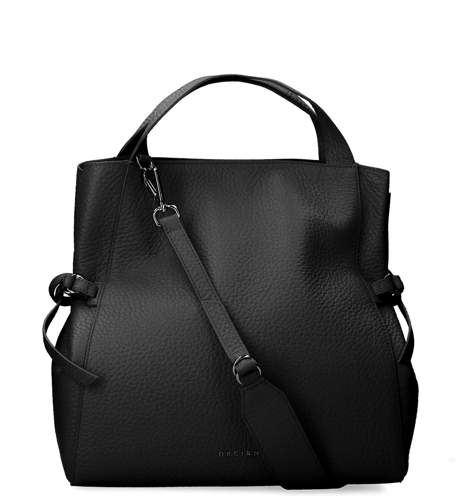 Orciani Women's B02047softnero Black Leather Tote