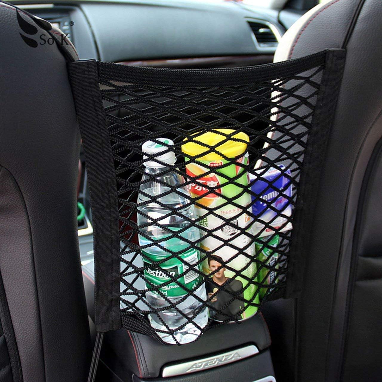 Car Tidy Cargo Rear Trunk Seat Storage Organizer Pocket Elastic Mesh Net Bag black Jasnyfall