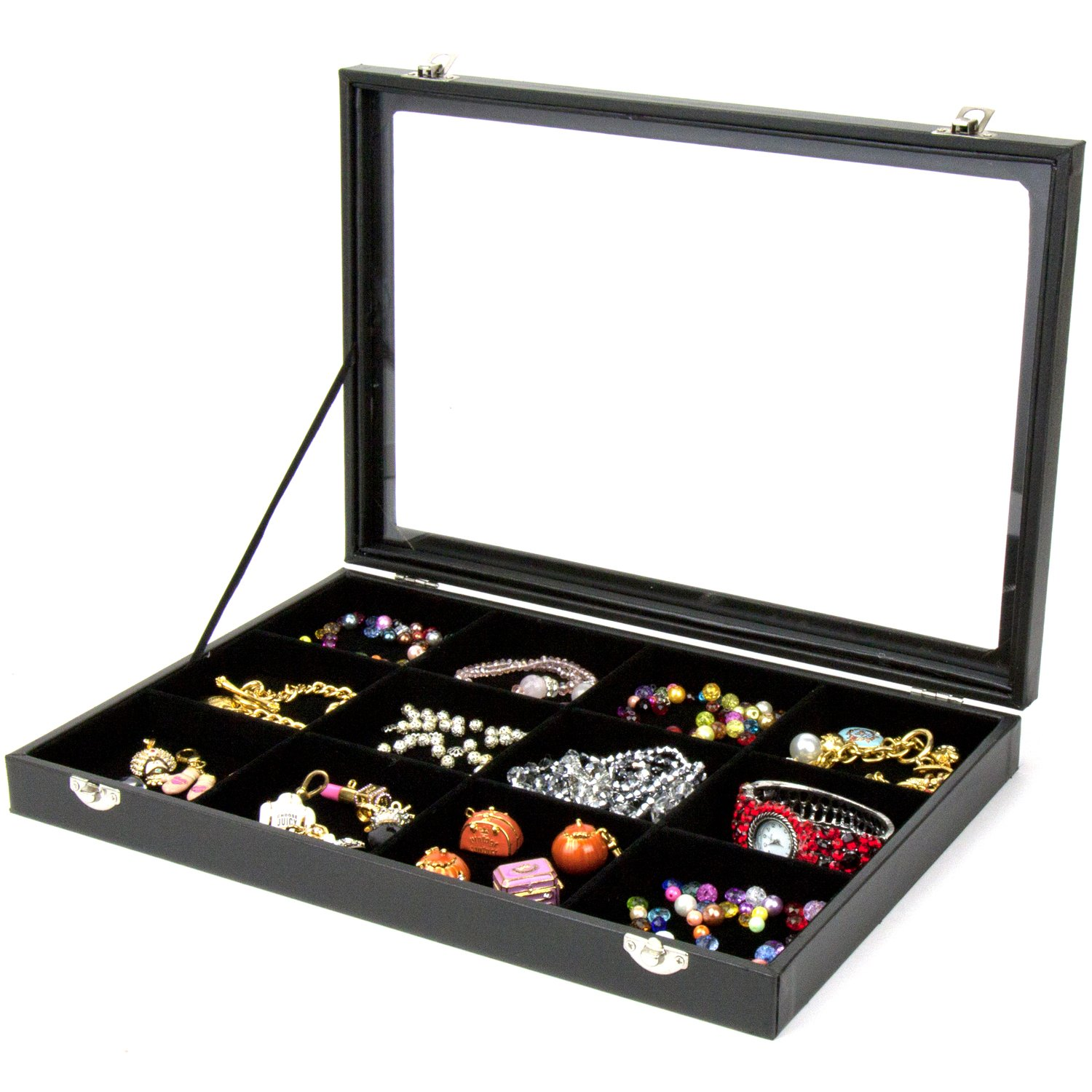 H&S® Glass Lid Bracelet Ring Jewellery Display Storage Box Tray Case - 12 Grid H and S Alliance UK Ltd