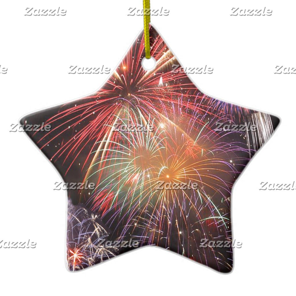 Amazon.com: Zazzle Fireworks Finale Ceramic Ornament Circle: Home ...
