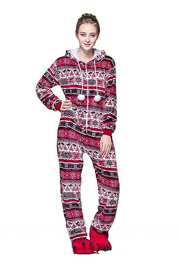 gamme exclusive code promo nouveaux prix plus bas Bel Avril Combinaison Pyjama à Capuche, Grenouillères Femme à Motif Flocon  de Neige de en Flanelle Automne/Hiver