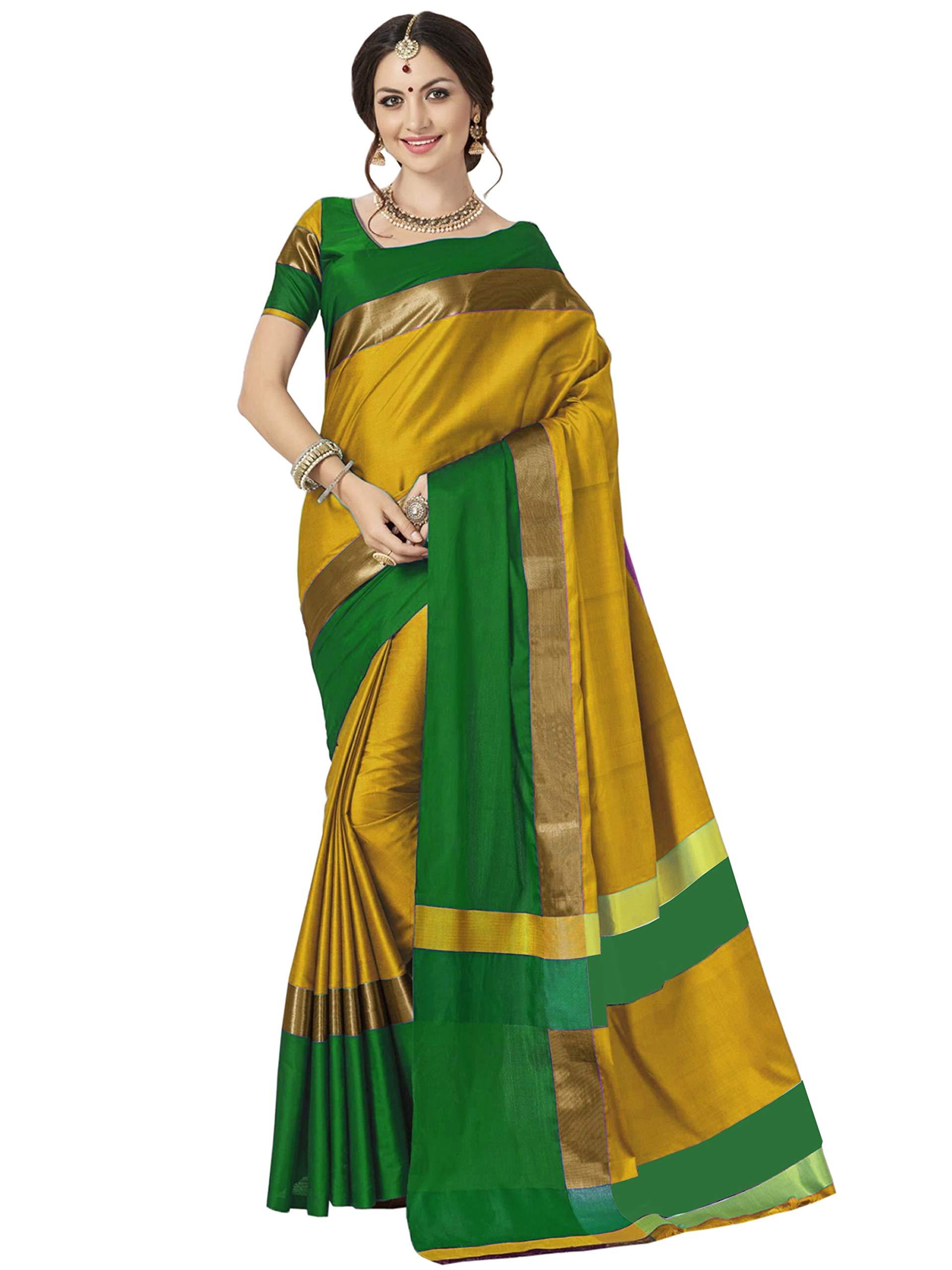 ELINA FASHION Sarees for Women Cotton Silk Woven Saree l Indian Diwali Gift Sari with Unstitched Blouse