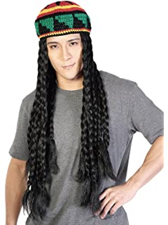 Long Black Dreadlock Wig Costume Cosplay Party Rasta Wig with Knitted Hat Halloween Unisex Wig Pirates