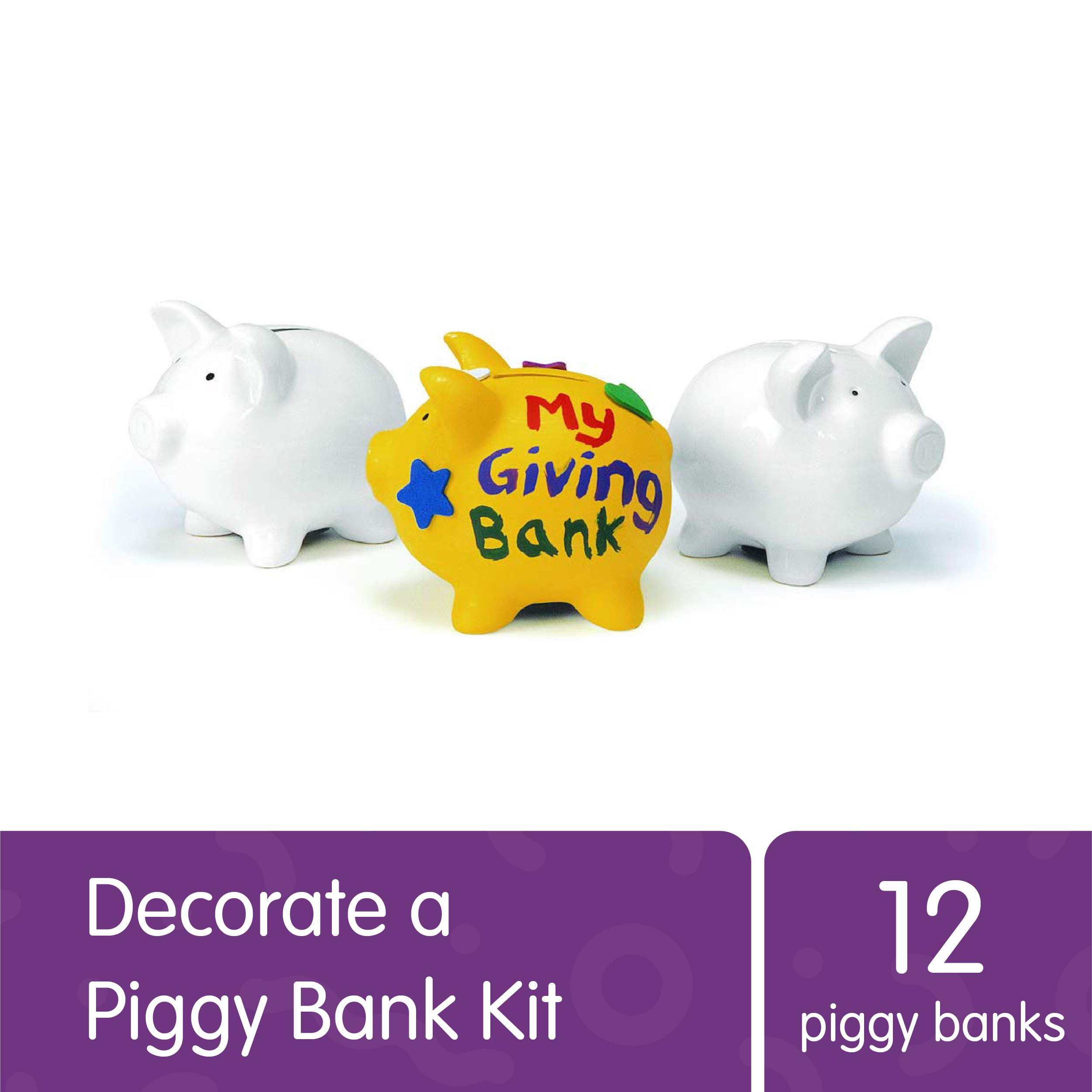 Colorations Decorate Your Own Piggy Bank, Ceramic, Set of 12, Coated Ceramic, DIY, Arts & Crafts, Gifts, Budgeting, Savings, for Kids, Educational, Craft Project by Colorations