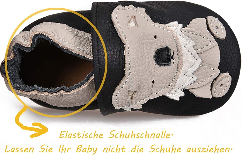 JACKSHIBO Lauflernschuhe Baby Hausschuhe Jungen M/ädchen Krabbelschuhe Kleinkind Babyhausschuhe Leder Weicher Rutschfesten Maschinenwaschbar