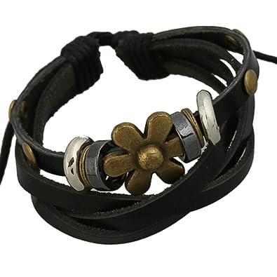 fd9f50fd1ac5 Beydodo pulseras Piel Hombre Pulsera Cuero Mujer Flor Pulsera Negro  Aleación pulseras Bangle joyería góticos  Amazon.es  Joyería
