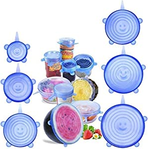 BeEcone Store Silicone Stretch Food Covers Lids - Various Sizes Reusable Durable and Expandable Containers Preservative Wrappers for Fruits & Vegetables or Bowls, Mugs, Dishes and Cans (BLUE)