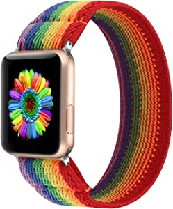 PENKEY Women Elastic Watch Band Compatible for Apple Watch 38mm 40mm 42mm 44mm,Stretchy Wristbands Replacement for IWatch Series 1 2 3 4 5 (Striped Rainbow, 38/40mm)