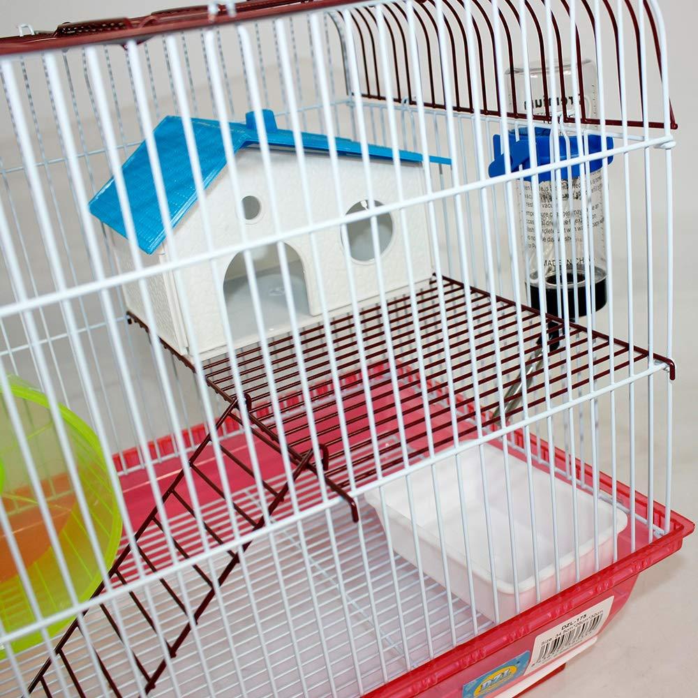 26 32cm con caseta Bebedero comedero Rueda y Escalera DI ZE LIN PET HOME S.L DZL/® Jaula para Hamster 34.5 Azul