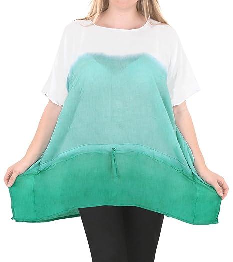 61961487c2a44 LA LEELA Rayon Tie Dye Beachwear Sundress Long Maxi Blouse Plus Size Green