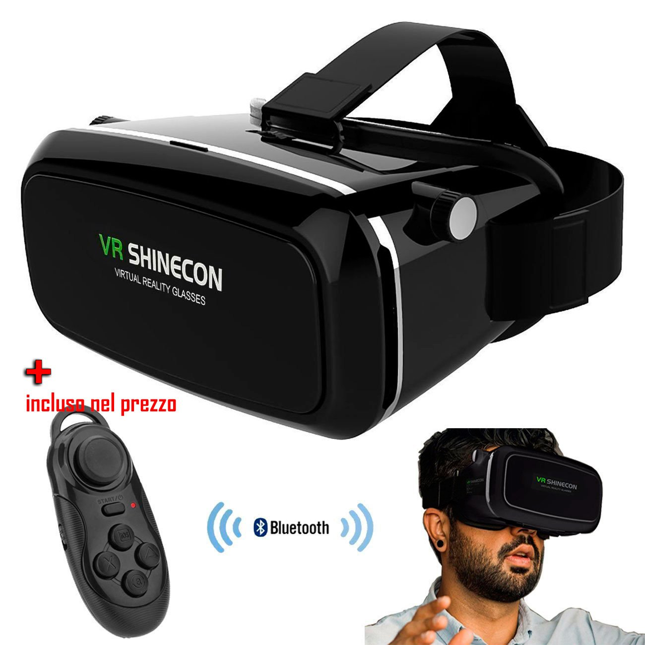 Virtual Reality 3D Video Glasses per iPhone 6 Plus / Samsung Galaxy S6 etc. 3.5 inch - 6.0 inch Android iOS Smartphone(Black) VR SHINECON