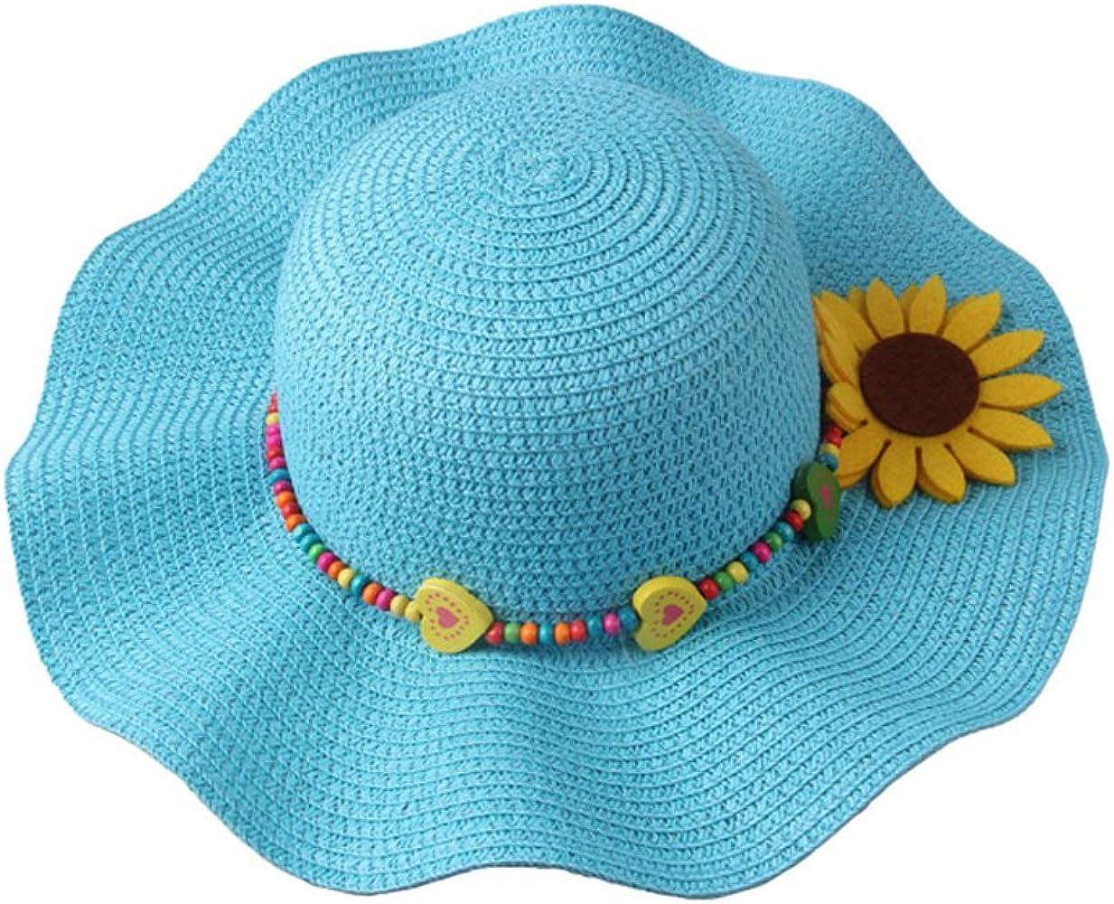 GIRLS CRUSHABLE STRAW WIDE BRIM SUN HAT WITH FLOWERS SIZES 52CM 54CM 56CM