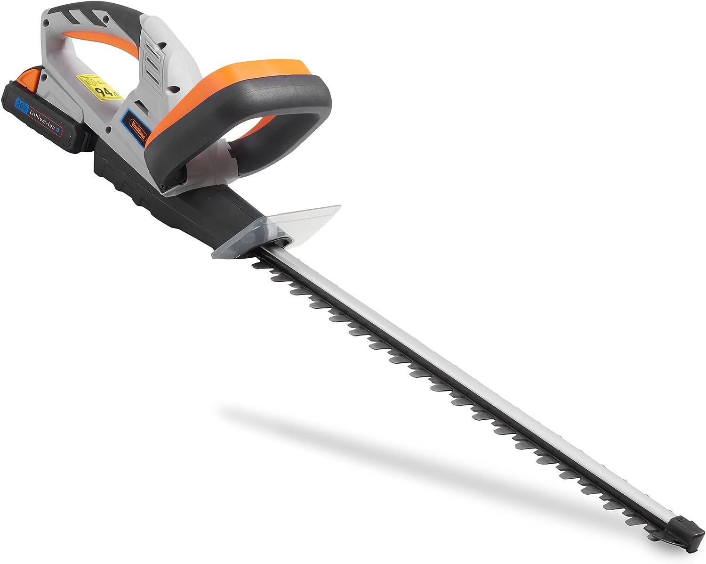 VonHaus Cortasetos sin Cable a Batería 20 V - Longitud de la Cuchilla 51cm, Espacio Entre Dientes 15mm – Batería y Cargador incluidos
