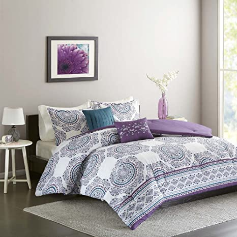 5 Piece Girls Purple Blue Medallion Theme Comforter Full Queen Set, Pretty  Girly All Over