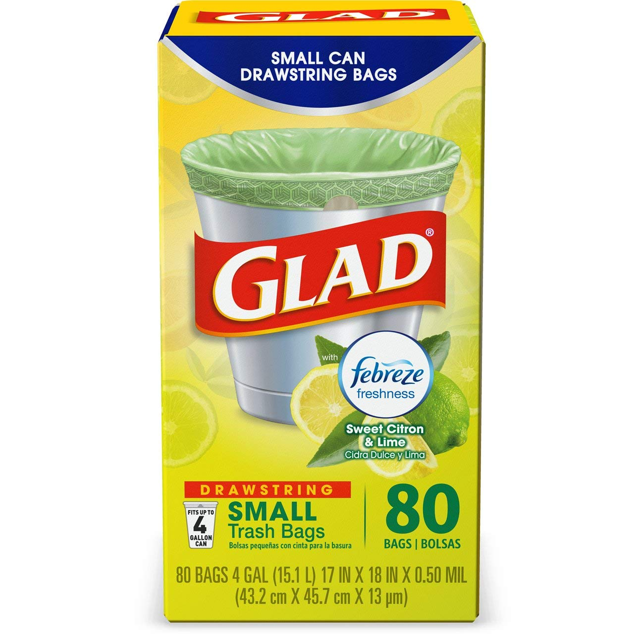 Glad OdorShield Small Drawstring Trash Bags - Febreze Sweet Citron & Lime - 4 Gallon - 80 Count