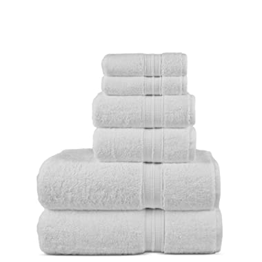 Luxury Premium Turkish Cotton 6-Piece Towel Set, Long-Stable 20/2, 2 Ply Turkish Ring-Spun Cotton Yarn Makes The Luxe-Factor, Eco-Friendly, (White)