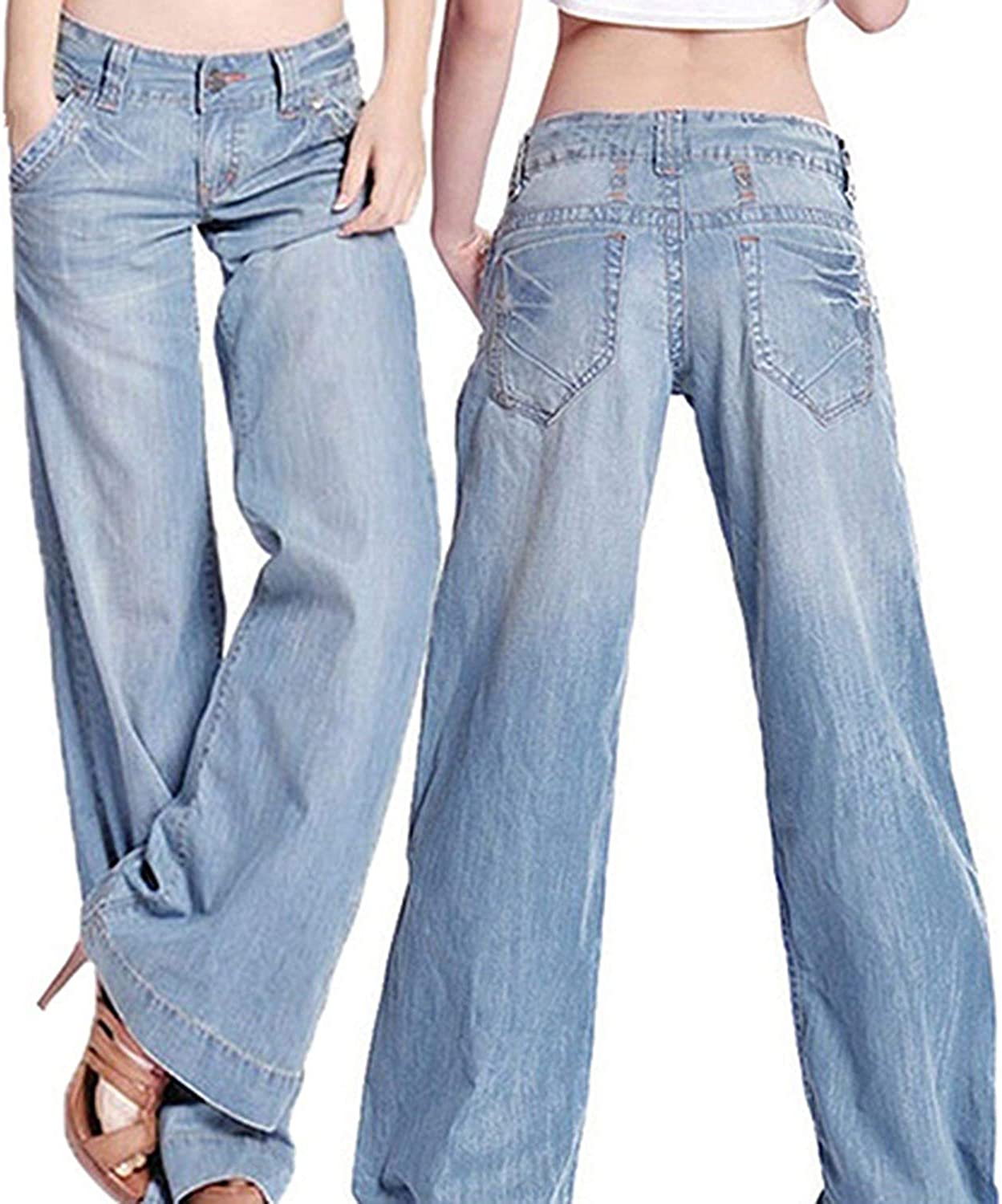 Womens Vintage Wide Legged Jeans Flared Trousers