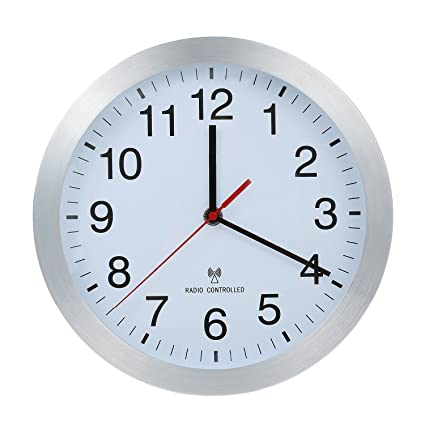 Reloj De Pared Controlado Por Radio Reloj Reloj de cocina Carcasa de aluminio Relojes de Pared