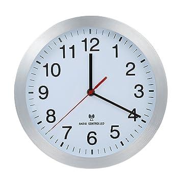 Reloj De Pared Controlado Por Radio Reloj Reloj de cocina Carcasa de aluminio Relojes de Pared, cambio automático de de Invierno de verano y tiempo, ...