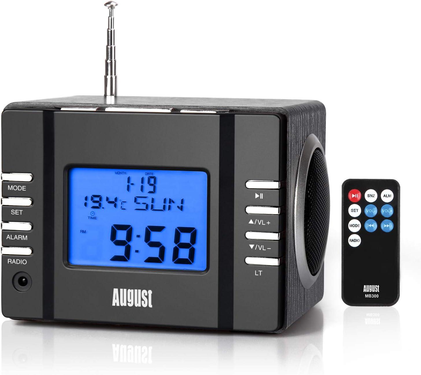 Radio Reloj Despertador - August MB300 - Radio FM con Altavoz Lector MP3 / Tarjeta SD/Termómetro Radiodespertadores Sistema Estéreo Sleep Timer / 3.5mm Jack/Telecomando