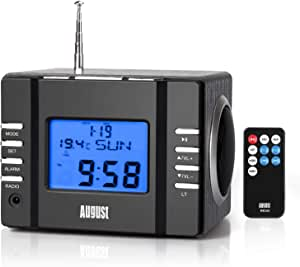 Clock Radio with MP3 Alarm - August MB300 - Wake to Your Favourite Music from USB and SD or FM Station - Rechargeable Portable Speaker [Solid Black]