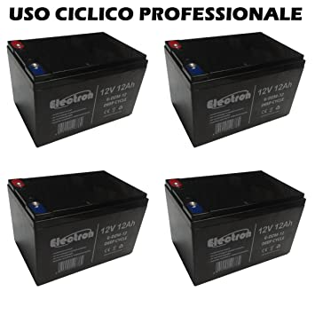 Deep Cycle 6-DZM-12 6DZM12 - Kit de 4 baterías de plomo recargable de 12 V, ...