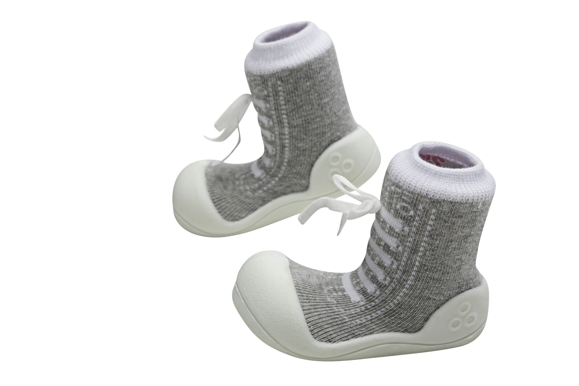 Attipas Best First Walker Shoes Baby Cotton Socks Shoes Non Toxic Safe Great Baby Registry Gifts (US Toddler 4.5, Sneakers Grey) by Attipas (Image #4)