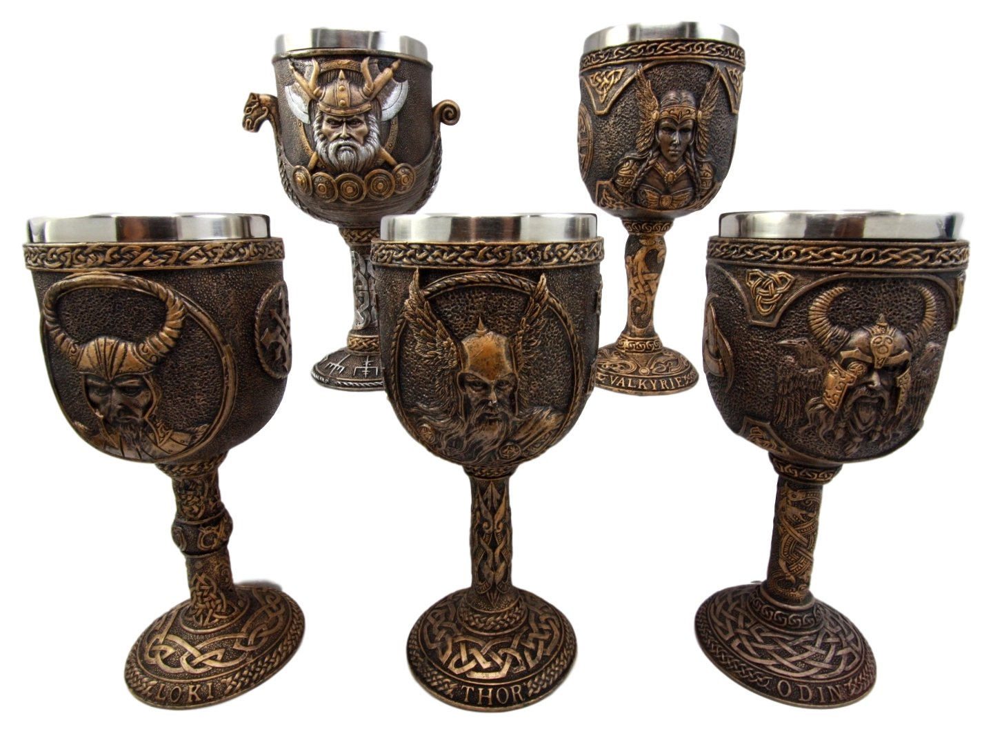 Norse God Thor Odin Loki Valkyrie Goblet Collection Bronzed Gift Wine Cup