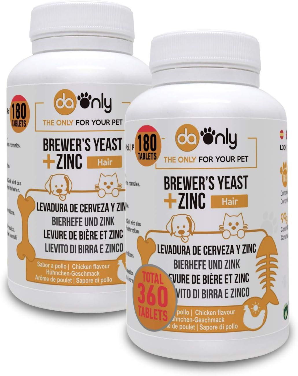 DAONLY Levadura de Cerveza + Zinc + Vitamina E para Perros y Gatos (Pack de 2) Suplemento Nutricional para el Pelo, la Piel y Las Uñas de tu Mascota. Fuente de vitaminas B.