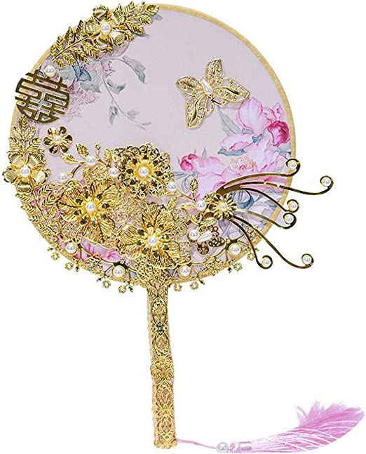 Amazon Com Traditional Chinese Wedding Bridal Fan Golden Bouquet