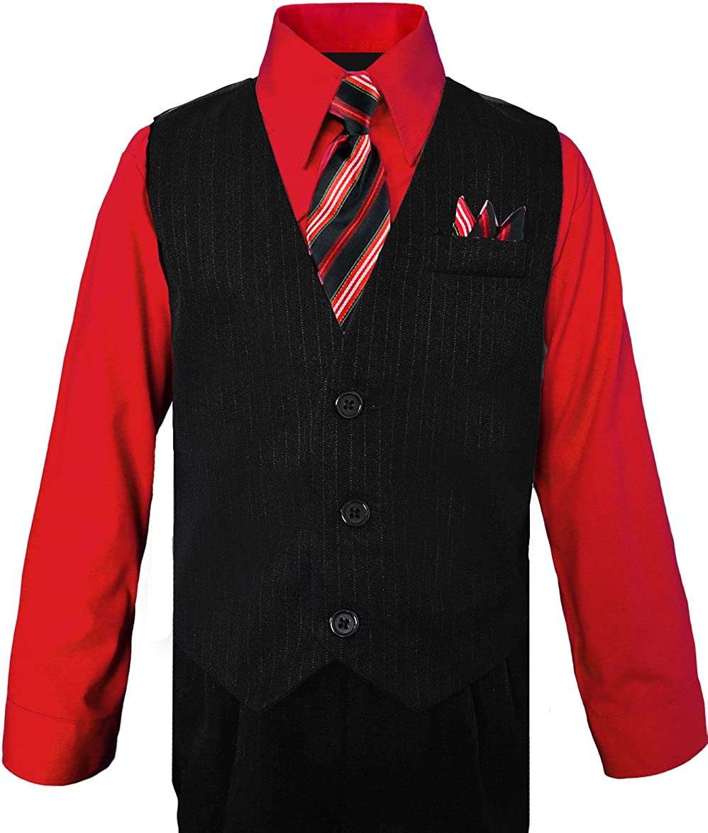with Vest Shirt Tie and Pants Set Black n Bianco Boys Pinstripe Dress Suit