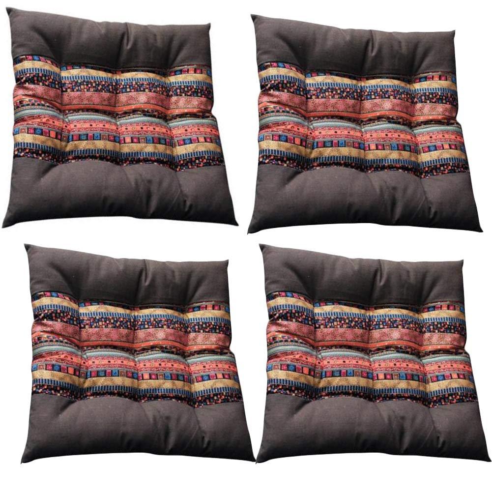 YAOBAO Cuscini per Cuscini Interni con Cravatte, Quadrato Solido 40 x 40 cm Cuscini per sedie in Cotone e Lino (4 Pezzi)